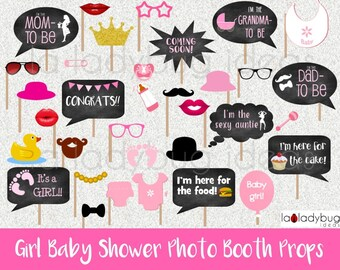 Printable Girl Baby Shower Selfie Station Accessories PNG eps dxf Funny Baby Photo Booth Props SVG Baby Speech Bubbles Vector Cut Files