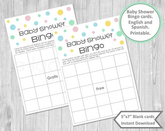 Baby Shower Bingo Cards In Spanish Printable Juegos Baby Etsy