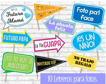 Letreros Para Fotos Spanish Photo Booth Props Carteles Para Etsy