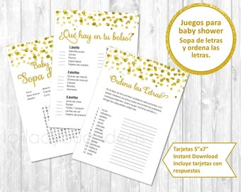 Juegos De Baby Shower Para Imprimir Sopa De Letras Ordena Etsy