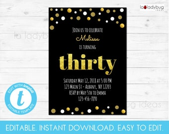 Thirty Birthday Invitation Editable And Printable 30th Party Black Gold Invite Instant Download Easy To Edit