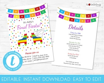 Editable Final Fiesta Invitation Bachelorette Party