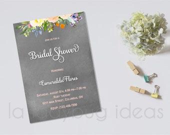 Bridal Shower Invitation, printable, Chalk and floral Bridal Shower Invitation. Bachelorette party invitation. DIY printable invitation.