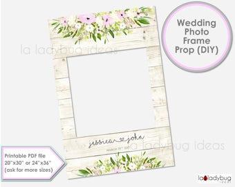 Wedding photo frame prop. Wedding photo prop. DIY PDF Printable file. Custom Floral rustic wedding prop, blush and ivory. for selfie station