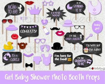 Girl baby shower purple photo booth props. Printable. DIY purple baby shower bubble speech. Instant download. PDF Digital file.
