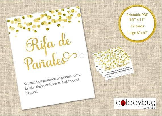 Ideas Tarjetas Baby Shower.Rifa De Panales Tarjetas Y Letrero Printable Diaper Raffle Game Spanish Pdf Instant Download Boy Girl Gender Reveal Baby Shower Gold