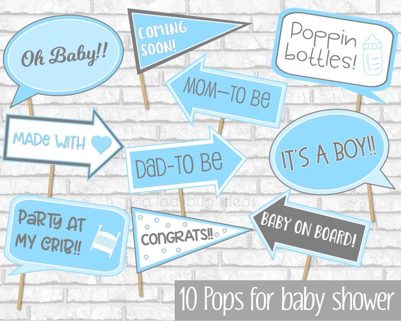Blue And Gray Baby Shower Photo Booth Props Boy Baby Shower Etsy
