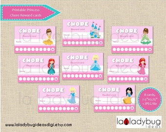 Princess chore reward cards. Printable chore punch cards for girls. Instant download. JPEG File, High resolution.
