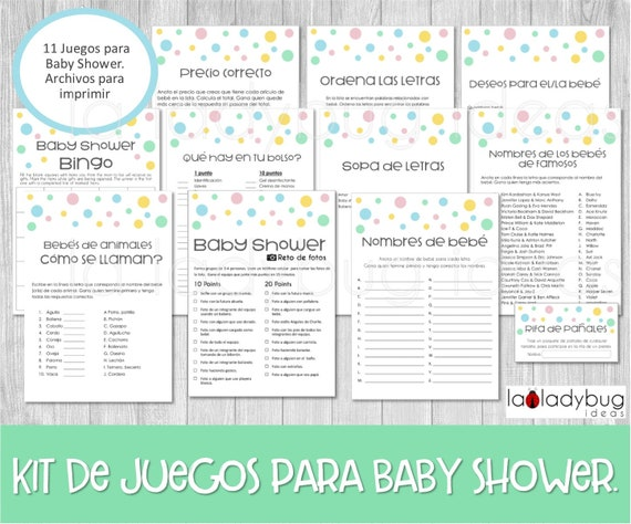 Juegos De Baby Shower Para Imprimir 11 Juegos Baby Shower Etsy
