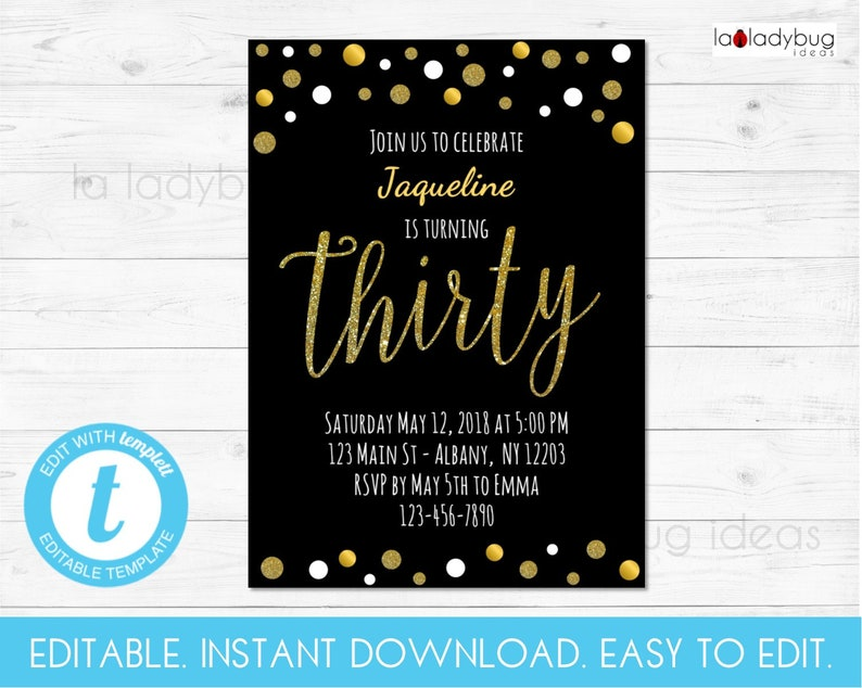 Editable Thirty Birthday Invitation 30th Party