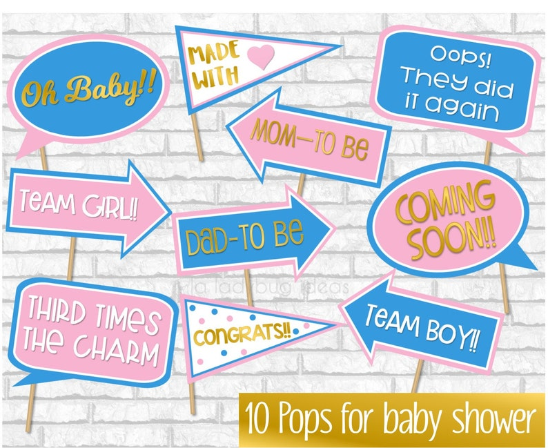 Pink And Blue Gender Reveal Baby Shower Props Boy Or Girl Etsy