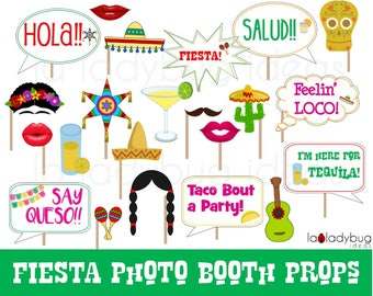 Fiesta Photo booth props. Printable Fiesta mexicana photo props. Fiesta selfie station. Fiesta Mexicana props for pictures. PDF file