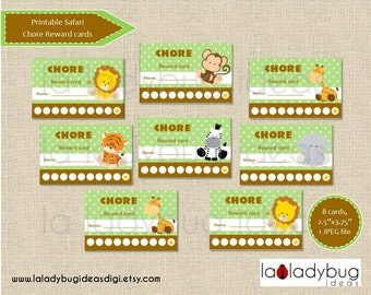 Safari chore reward cards. Printable chore punch cards for boys (or girls). African animal friends, jungle animals. Instant download.