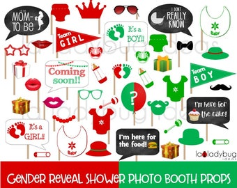 Red and green gender reveal baby shower photo booth props. Printable DIY baby shower bubble speech. Instant download. Boy or girl. He or she