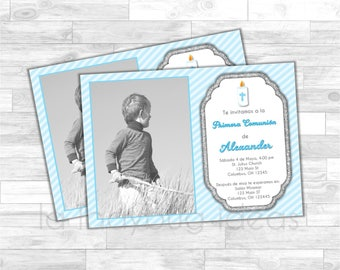 Invitación Primera Comunión de Niño, Azul. Blue invitation. First Communion Invite for boy. Blue, white, silver baptism or first communion