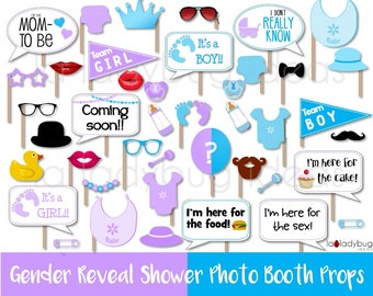 Gender reveal baby golden photo booth props. Printable DIY photo booth props. Instant download. Boy or girl. He she. White and golden.