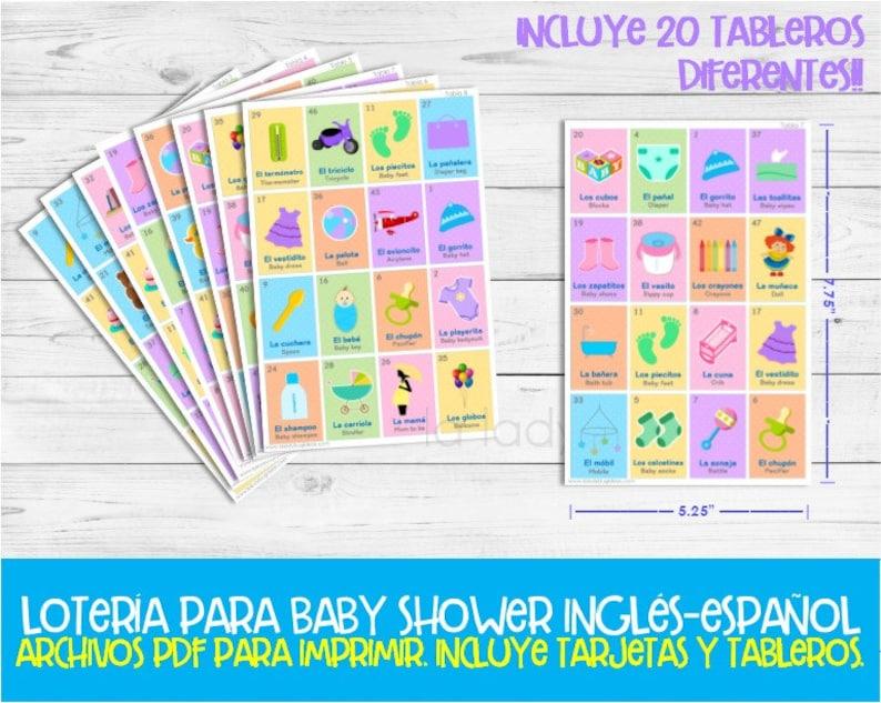Baby Shower Loteria Ingles Y Espanol Juego Para Baby Shower Etsy