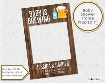 Baby shower photo frame prop. Baby is brewing photo prop. DIY PDF Printable file. Custom baby shower prop for selfie station. Rustic frame.