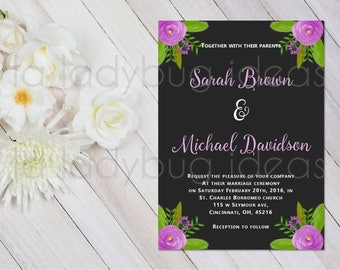 Purple and black Printable Wedding Invitation in Spanish. Invitación de boda para imprimir. Invitación digital. Invitaciones digitales boda
