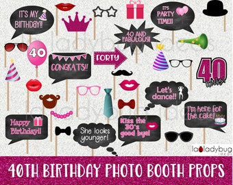 40th Birthday photo booth props. Printable. DIY Forty birthday party props for pictures. Instant download. PDF Digital file. High resolution