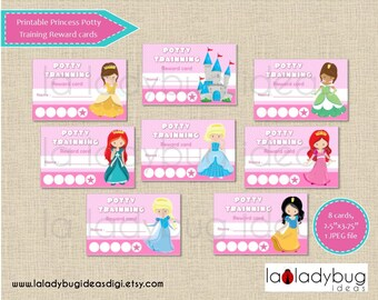 Princess potty training reward cards. Printable potty training punch cards for girls. Instant download. JPEG File, High resolution.
