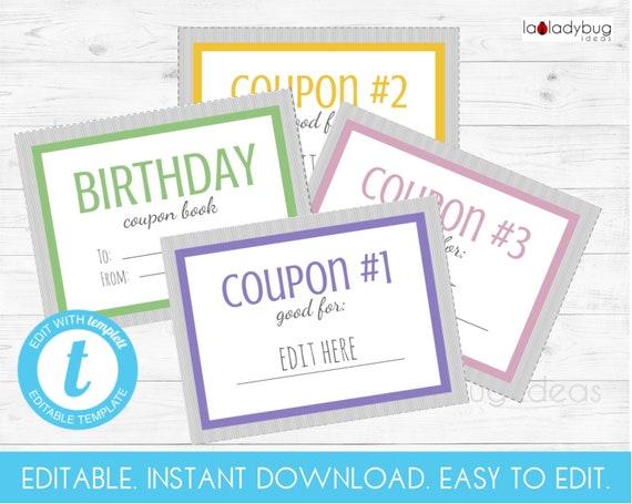 editable birthday coupon book printable coupon book editable etsy