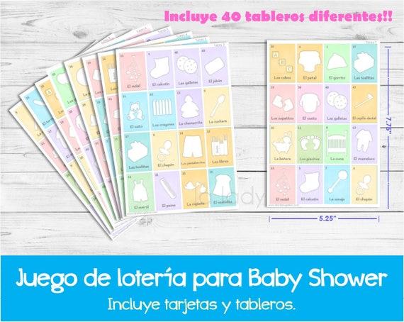 Loteria Para Baby Shower En Espanol Juego Para Baby Shower Etsy