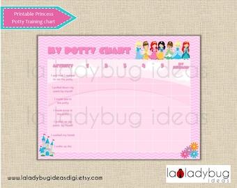 Princess potty training chart. Pink printable potty training chart for girls. Instant download. Digital JPEG File.