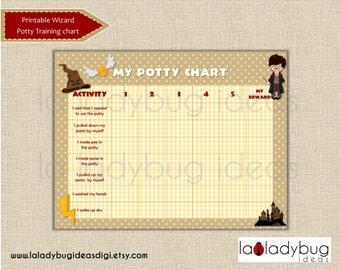 Potty training chart Wizard. Printable potty training chart for girls or boys. Instant download. Digital JPEG File. Reward chart potty train
