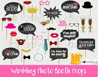 Wedding photo booth props. Printable. DIY Wedding bubble speech. Instant download. PDF Digital file. High resolution.