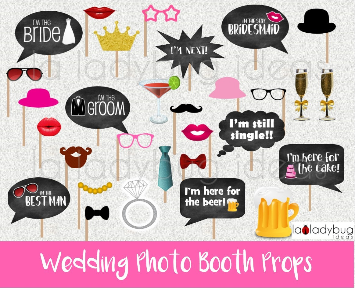 Wedding photo booth props  Printable  DIY Wedding bubble speech  Instant  download  PDF Digital file  High resolution