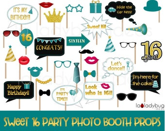 Sweet sixteen photo booth props. Printable. Gold, teal and white. DIY Sweet 16 photo booth props for pictures. Instant download PDF File