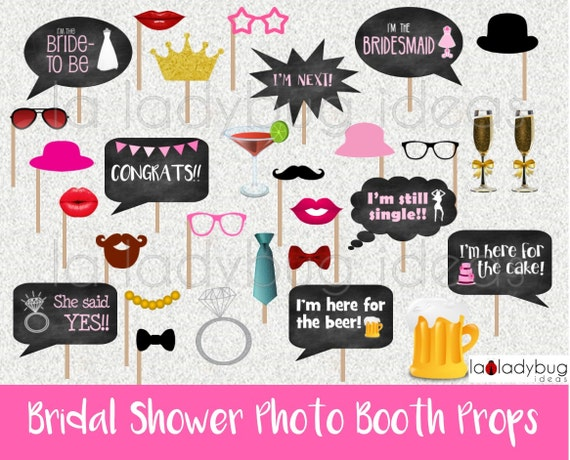 Bridal Shower Photo Booth Props Printable Diy Bachelorette Bubble Speech Instant Download Pdf Digital File High Resolution