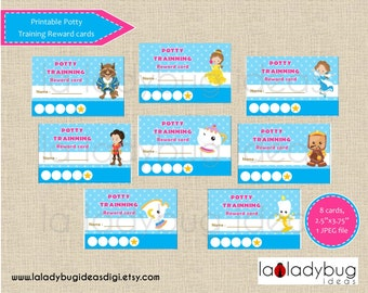 Potty training reward cards princess. Printable potty training punch cards for girls. Instant download. JPEG File, High resolution.