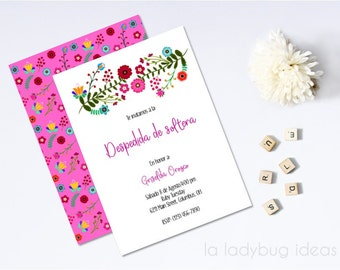 Mexican embroidery inspired bridal shower invitation, printable. Invitación despedida de soltera para imprimir. Inspirada bordado mexicano.
