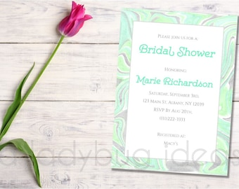 Green marble bridal shower invitation. Bachelorette party invitation. Mint marble texture.