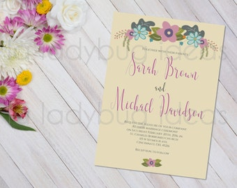 Floral pink and cream Printable Wedding Invitation.
