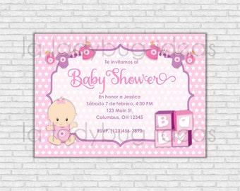 Invitación Digital Baby Shower para niña. Rosa. Imprimible. Invitación baby shower niña. Archivo para imprimir. Colores Rosa y morado.
