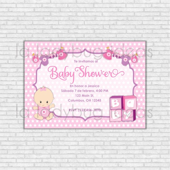 Invitación Digital Baby Shower Para Niña Rosa Imprimible Etsy