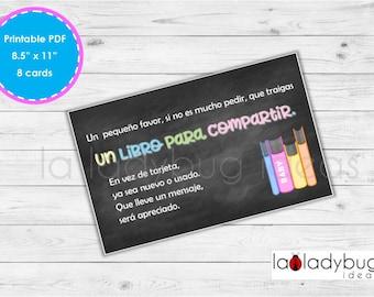 """Tarjetas """"Trae un libro"""" en español para imprimir. Baby shower o cumpleaños. PDF and JPEG files, Instant download. Book request in Spanish."""