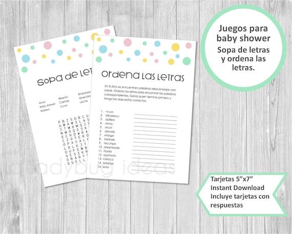Juegos Baby Shower Digitales Sopa De Letras Ordena Palabras Etsy