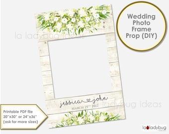 Wedding photo frame prop.  Ivory Wedding photo prop. DIY PDF Printable file. Custom Floral rustic wedding prop, Ivory. for selfie station