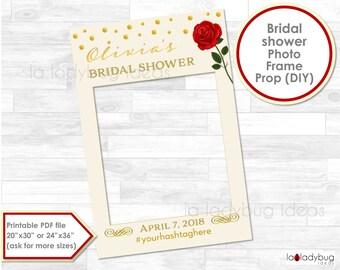 Red Rose Bridal shower photo frame prop. Wedding photo prop. DIY PDF Printable file. Custom bachelorette prop for selfie station. Red rose.