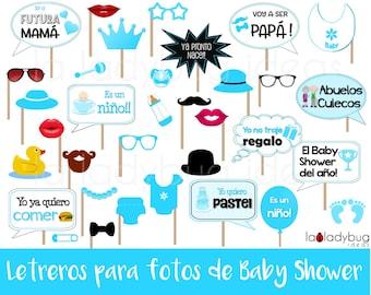 Letreros para fotos de Baby shower niño. Archivo para imprimir. Spanish baby shower. Spanish photo booth props baby shower boy.  PDF File.
