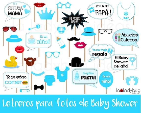 Letreros Para Fotos De Baby Shower Nino Archivo Para Imprimir Spanish Baby Shower Spanish Photo Booth Props Baby Shower Boy Pdf File