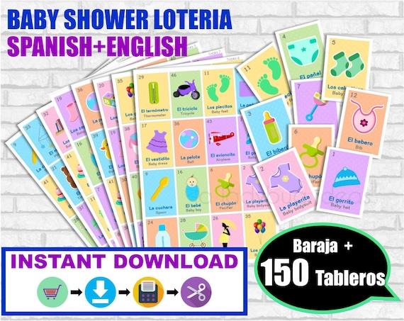 Loteria Baby Shower Ingles Y Espanol Baraja 150 Cartas Etsy