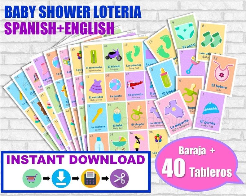 Loteria Baby Shower Ingles Y Espanol Juego Para Baby Shower Etsy