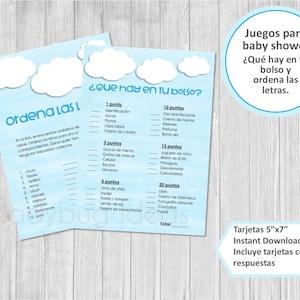 Juegos para baby shower para imprimir Descarga inmediata Baby names game for baby shower in spanish. Nombres de bebe Carrera de nombres