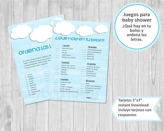 Juegos Baby Shower Para Imprimir Que Hay En Tu Bolso Ordena Etsy