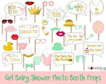 Baby shower photo props gold, pink and mint for Girl, Printable. Baby shower photo booth props. DIY selfie station props. Instant download.